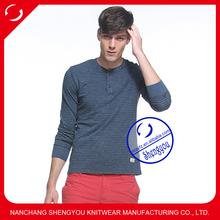 custom high quality long sleeve mens yarn dyed t-shirt wholesale