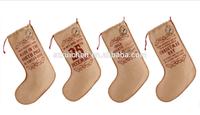 Jute burlap Christmas stocking candy gift bag