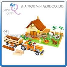 Mini Qute DIY farm farmer transport cart truck carrier vehicle action figure plastic building block educational toy NO.28901