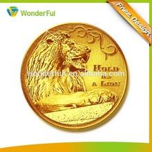 2015 Best Selling Lion Design 3D Gold Metal Proof Coin