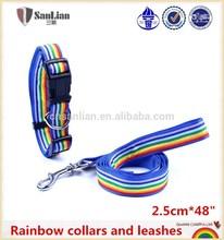 Nylon leash lead dog rainbow collars and leashes