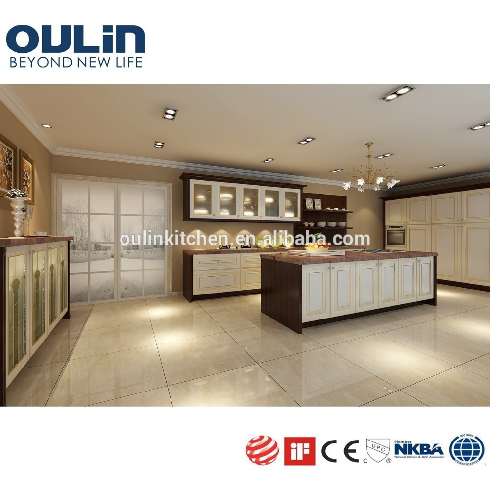 Custom made light color cheap flat pack kitchen cabinets for Budget kitchen cabinets ltd