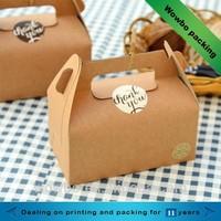 Mini plain kraft paper cupcake take away box with handle