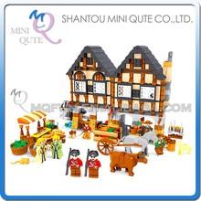 Mini Qute DIY boy farm farmer carriage cow market house village action figure plastic building block educational toy NO.28001
