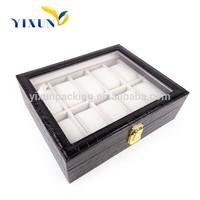 Luxury presentation leather wrist watch storage box