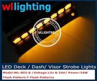 Bright Amber Emergency Vehicle LED Police Car Visor Deck Dash Warning Lights
