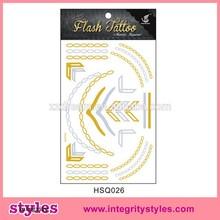 Sellings calientes oro etiqueta engomada de papel del tatuaje material de