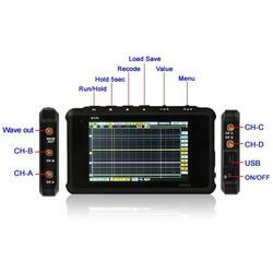DS203 DSO203 ARM Cortex Quad 4 Channels 72MHz Mini Nano Digital Handheld Oscilloscope 8M Flash dso 2 probes+Lint Case