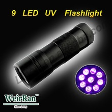 (1500213) China Low Price 365nm 395nm 9 LED AAA Battery UV Torch