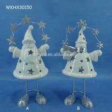 Ceramic santa candle holder handmade home decor