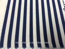 Twlight Blue & Cream Cotton Stripe Fabric