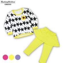 c008 2015 new children's clothing children still Korean ladies star pattern shirt jacket Spring cotton skirts plus suit