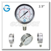 High quality stainless steel bourdon tube hydraulic pressure gage