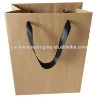 High quality ribbon handle Christmas brown paper gift bag