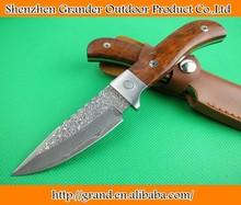 Aço damasco 58 hrc lâmina steel+wood lidar oem direto contra facas utilitário faca bowie ferramenta de resgate bainha de couro 1409