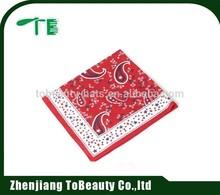 red flower printed custom cheap handkerchief