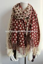 small plum blossom two-sided jacquard long scarf with fringe pashmina shawl
