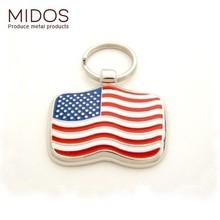 "Zinc alloy soft enamel flag pet id tag 1.25"" 20g America and Canada design"