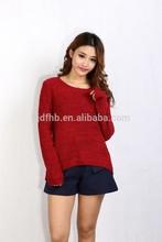 Womens long sleeves Crew neck plain colour pillover Sweater