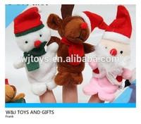 3Pcs Christmas Santa Claus Soft Plush Puppet Finger Toys Educational Story-telling baby Toy