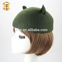 Top Quality 100% Australian Wool Felt Fedora Hat with Cute Cat Ear