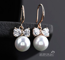 alloy zircon OEM service factory outlet pearl dangle earrings