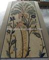 Js corte mão mosaico de mármore pistache árvore e flor padrão