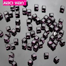 3D Nail Art 4mm Elegant Purple Square Cube Beads Faceted Crystal Rhinestone #1316