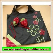 hot sale strawberry portable shopping bag cheap shopping bag for promotion ployester folding shopping bag