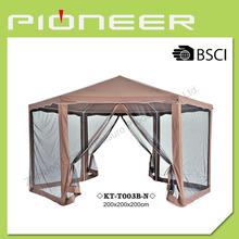 2x2x2M Hexangular Sharp Polyester Gazebo Canopy with 6 pc mosquito netting and 2 zippered doors