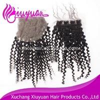 invisible silk base human hair lace closure mongolian kinky curly hair closure