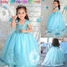 Wholesale free shipping -When the Frozen ice ELSA long shawls dress girl dress princess dress 5 pics,size 100-140cm SU045