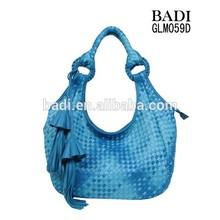 Hand knit woven bag high quality pu leather woven handbag fashion bag wholesale