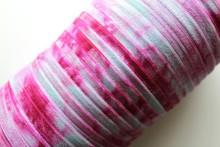 "5/8"" Fold Over Elastic Ocean Blue and Raspberry Tie Dye, Shiny FOE, Printed Elastic Band Webbing"