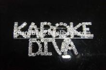 custom letter pin unique gift new fashion rhinestone brooch bling word pin KARAOKE/DIVA