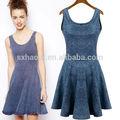 Hd-d162 sıcak satış oem servisi fabrika/çiçek kadınların jean elbise/bayan jean elbise