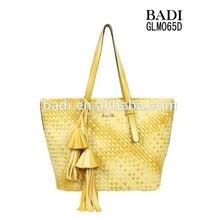 2015 ss hand knit woven bag high quality pu leather woven handbag fashion women oversize bags