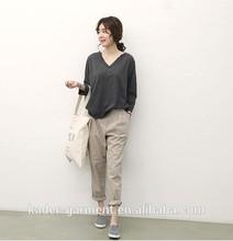 polyester woman t shirt sourth korea v-neck t shirt