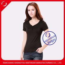 custom 100 viscose v-neck t shirt women wholesale