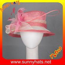 Unique Ladies Pink Fascinator Hats Wholesale Decorate Feather