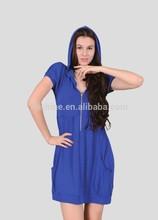 The merino wool half-zip bule dress of women