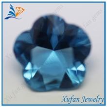 China wholesale rough glass gems flower shape blue sapphire
