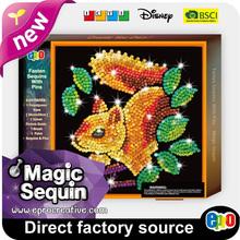 EPRO CA9314B creative esay craft activity pack, squirrel design square framed magic sequin art