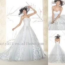 Nueva llegada 2015 Appliqued a-line sin tirantes sin mangas piso de longitud de luz azul de encaje de la boda vestidos WD1555