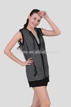 The merino wool black and grey stripe sleeveless coat of women