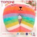 2015 arco iris de colores de algodón de felpa emoji oem de coches almohada para el cuello