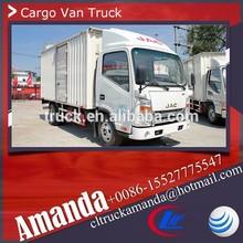 JAC 4*2 120hp light duty cargo van body, 2 ton used electric cargo van