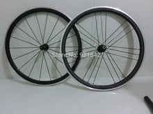 700c 38mm carbon alloy clincher wheelset with aluminum braking surface road bicycle wheels 20/24 holes