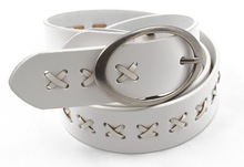 100% genuine white leather belt with newest design YJ-E2025