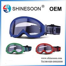hot sell tranparent soft silicone frame ski goggle, sports kits of goggle